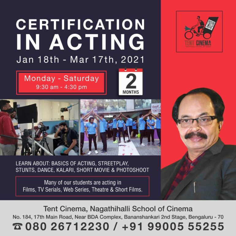 Certification in Acting (Full-time) Course at Tent Cinema Bangalore
