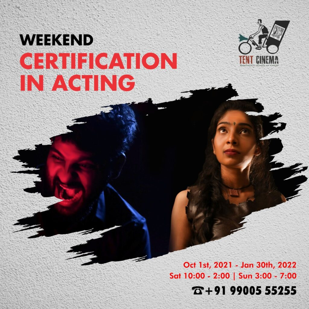 Weekend Certification in Acting at Tent Cinema Film School is a 4-month comprehensive acting course, trained by the industry experts